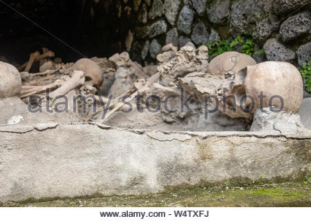 Remains of slaves left behind when Vesuvius erupted, at the Roman archaeological site of Herculaneum (Ercolano), near Naples, Italy. - Stock Photo
