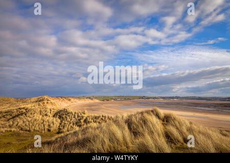 Sand dunes at crow point beach in North Devon, UK - Stock Photo