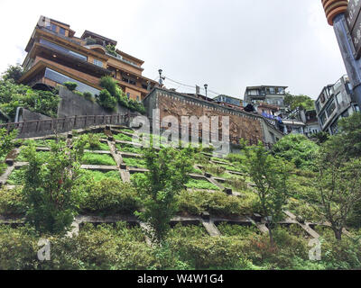 Jiufen, Taiwan -  July 6, 2015: View of Jiufen old town village, also spelled Jioufen or Chiufen, a mountain area in Ruifang District, New Taipei City - Stock Photo