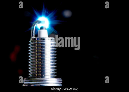 Spark plug for internal combustion engine.Сopy space. - Stock Photo
