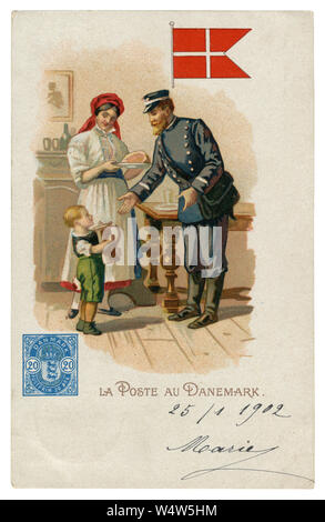 French historical chromolithographic postcard: World post series. Danish post. Postman in uniform. Woman and child in traditional clothes. Denmark