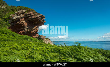 Stunning panoramic view of Hawk's Neb (meaning hawk's nose) (Hawk's Nib on OS maps) in Kilchattan Bay, Isle of Bute showing coastal erosion - Stock Photo