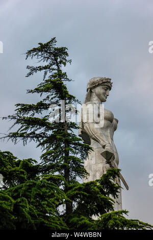 Mother Georgia, the symbol of the country, a sculpture 20 meters high that is visible from almost anywhere in the city.    The Kartlis Deda, as it is - Stock Photo