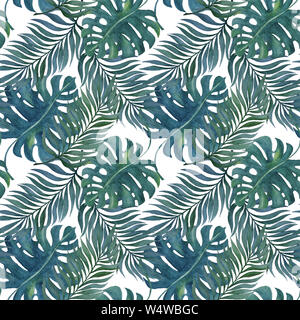 watercolor hand painted tropical seamless pattern with exotic rainforest leaves, tropical illustration for background texture, wrapping, wallpaper, fa - Stock Photo