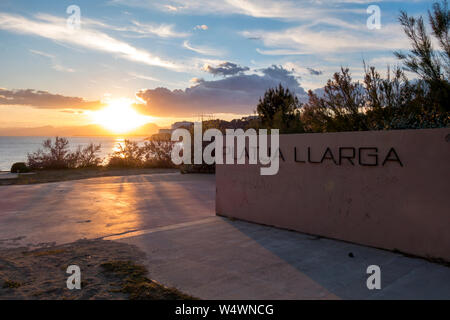 Platja llarga beach in Salou, Catalonia, Spain - Stock Photo