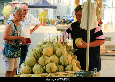 French Market stalls in small town. - Stock Photo