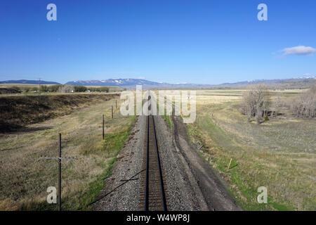 Railroad Tracks near Livingston, Montana - Stock Photo