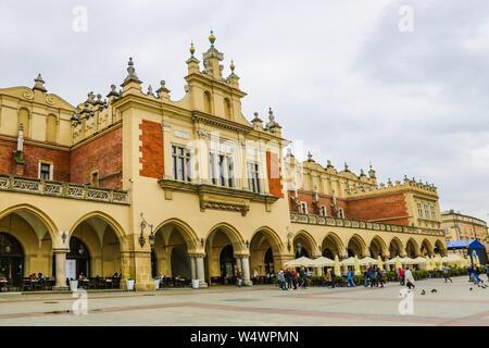 Krakow, Poland - May 21, 2019: Cloth Hall on Main Market Square in Krakow - Stock Photo