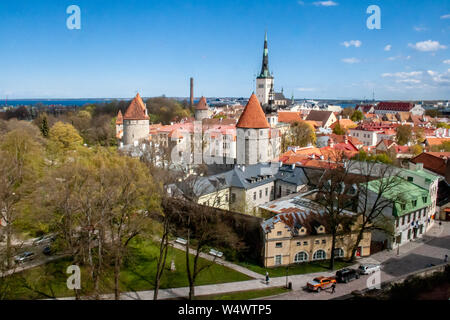 Beautiful scenic aerial view of the Tallinn old town, Estonia with towers and churches, Baltic sea on the background - Stock Photo