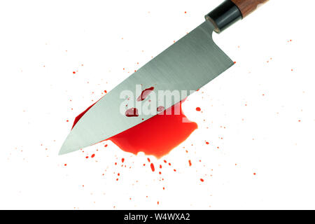 High contrast image knife bloody on white background - Stock Photo