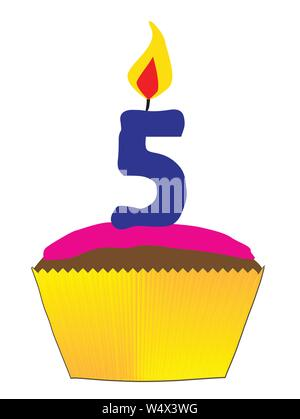 A candy cupcake with pink icing and a number 5 as the candle - Stock Photo