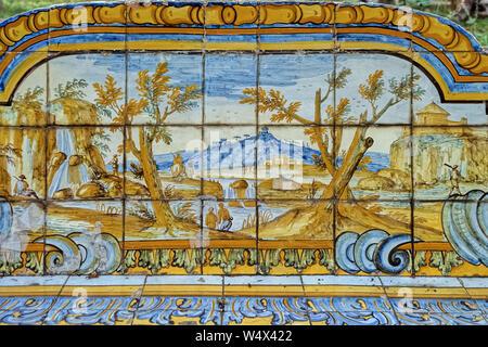 Italy Campania Naples -Monumental complex of Santa Chiara - Santa Chiara Basilica Ceramic  with landscape view in the Cloister - Stock Photo