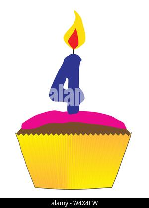 A candy cupcake with pink icing and a number 4 as the candle - Stock Photo
