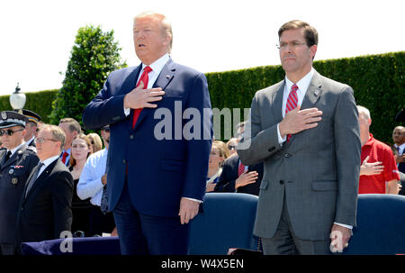 United States President Donald J. Trump (L) attends the welcome ceremony for the new US Secretary of Defense Dr. Mark T. Esper, at the Pentagon, Thursday, July 25, 2019, Washington, DC. The Department of Defense has been without a full-time leader since former Secretary Jim Mattis resigned in December.Credit: Mike Theiler/Pool via CNP /MediaPunch - Stock Photo