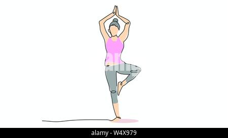 Abstract yoga concept illustration in outline style, person