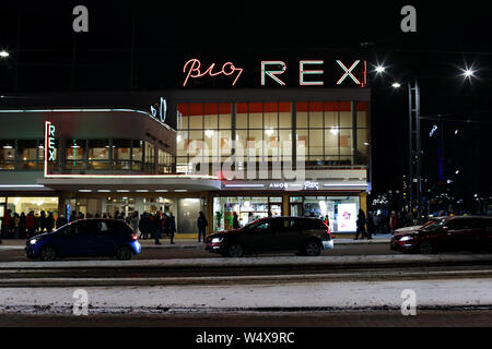 Iconic movie theater Bio Rex and new art museum Amos Rex at functionalist Lasipalatsi building in Helsinki, Finland - Stock Photo