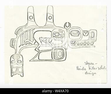 Correspondence from Malin (Edward) 1964 (2 of 2), page 147 (Original Caption- Skana-Haida Killer Whale Design) (32735828653). - Stock Photo