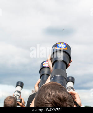 Photographers take aim at Spanish Navy Harrier who  return to the Air Tattoo.   This years event celebra - Stock Photo
