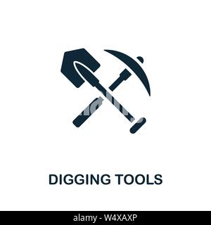 Digging Tools vector icon symbol. Creative sign from farm icons collection. Filled flat Digging Tools icon for computer and mobile - Stock Photo