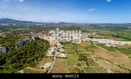 Aerial view of Roquefort des Corbieres in the Aude - Stock Photo