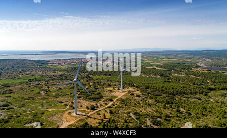 Aerial photo of wind turbines in the Corbieres mountains - Stock Photo