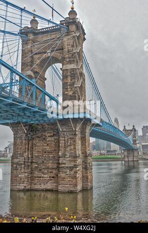 John A. Roebling Suspension Bridge Cincinnati Ohio - Stock Photo