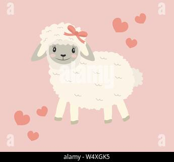 Cute little sheep baby clip art funny smiling animal. Vector illustration - Stock Photo