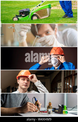 collage of five photos of people working at their daily professional job occupation - Stock Photo