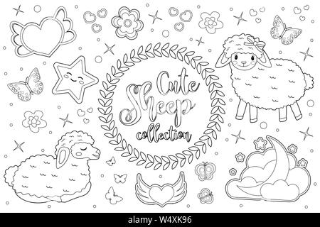 Cute little sheep set Coloring book page for kids. Collection of design element, outline, doodle style. Kids baby clip art antistress. Vector - Stock Photo