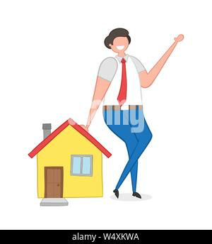 Realtor leaning on house, hand-drawn vector illustration. Color outlines and colored. - Stock Photo