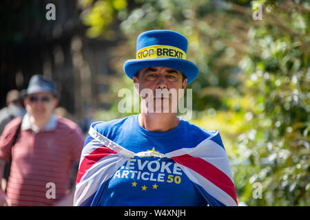 Steve Bray Anti Brexit activist protesting outside the Palace of Westminster. - Stock Photo