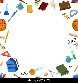 Frame with place for text with school elements on return to school on the first of September in the flat style in color. Vector illustration - Stock Photo