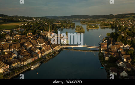 Aerial view of Stein-Am-Rhein medieval city near Shaffhausen, Switzerland - Stock Photo