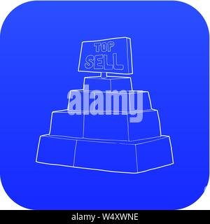 Top sale sign on a podium icon blue vector - Stock Photo