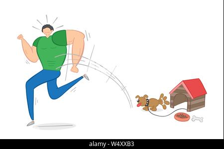 Muscular man scared of small dog and running away, hand-drawn vector illustration. Color outlines and colored. - Stock Photo
