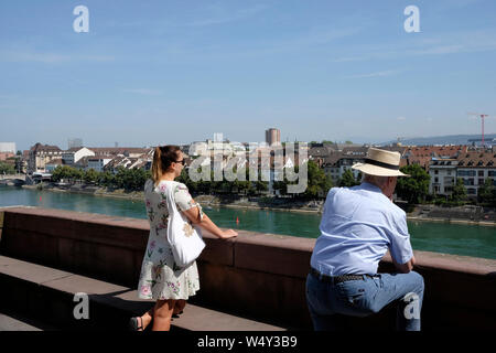 People enjoying the view of Basel from the Pfalz, a viewing terrace, Switzerland - Stock Photo