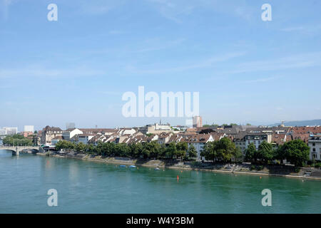 A view of Basel skyline from the Pfalz viewing terrace, Switzerland - Stock Photo