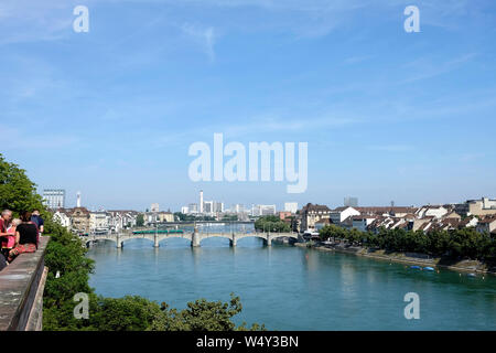 A general view of Basel from the Pfalz viewing terrace in Basel, Switzerland - Stock Photo