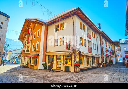 ZELL AM SEE, AUSTRIA - FEBRUARY 28, 2019: The old street of fashionable resort with historical buildings, numerous hotels, cafes and souvenir stores, - Stock Photo