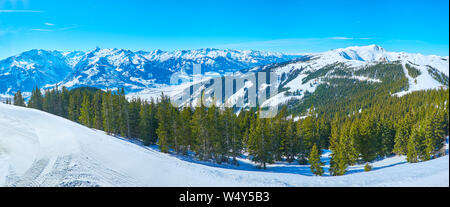 Panorama of the lush spuce forest on the snowy slope of Schmittenhohe mount with a view on sharp peak of Kitzsteinhorn mount of Kaprun resort, Zell am - Stock Photo