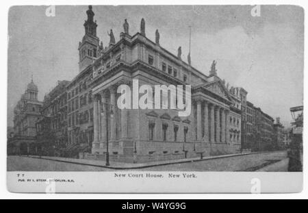 Engraved postcard of the New Courthouse in New York City, New York, published by I. Stern, 1905. From the New York Public Library. () - Stock Photo