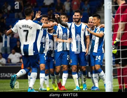 Barcelona, Spain. 25th July, 2019. RCD Espanyol's Wu Lei (1st R) celebrates a scoring of Facundo Ferreyra (3rd R) with teammates during the Europa League qualifying second round between RCD Espanyol of Spain and Stjarnan of Iceland at RCDE Stadium in Barcelona, Spain, July 25, 2019. RCD Espanyol of Spain won 4-0. Credit: Joan Gosa/Xinhua/Alamy Live News - Stock Photo