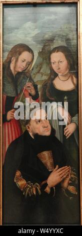 Elector Frederic the Wise of Saxony with Saints Ursula and Genevieve by Lucas Cranach the Elder - Stock Photo