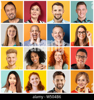 Collage of photos with different people - Stock Photo