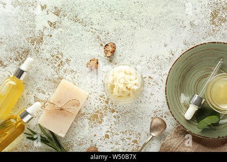 Composition with shea butter on table - Stock Photo