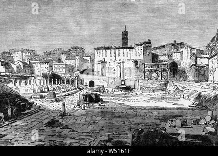A 19th Century view of the ruins of the Roman Forum, also known by its Latin name Forum Romanum, a rectangular forum (plaza) surrounded by the ruins of several important ancient government buildings at the center of the city of Rome. Citizens of the ancient city referred to this space, originally a marketplace, as the Forum Magnum, or simply the Forum. For centuries it was the center of day-to-day life in Rome: the site of triumphal processions and elections; the venue for speeches, trials, and the nucleus of commercial affairs, where statues and monuments commemorated the city's great men. - Stock Photo