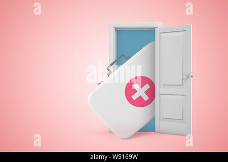 3d rendering of first aid medical kit in white open doorway on light pink background - Stock Photo