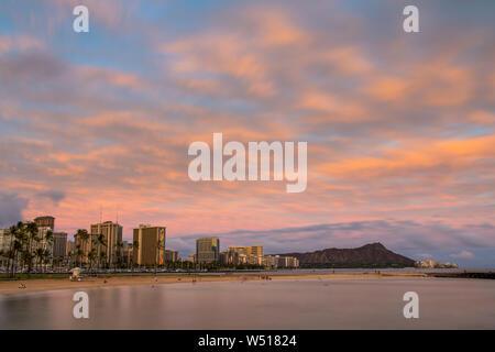 Sunset from Magic Island with a view of Waikiki, Honolulu, HI,USA Stock Photo