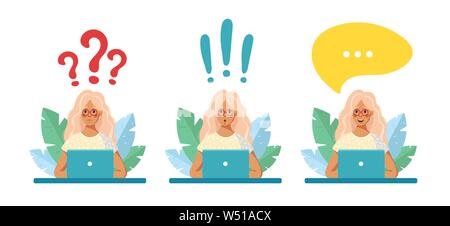 The girl in glasses sits at a laptop on the background of leaves. Speech bubble, question mark, exclamation mark above it. The girl found the answer, the solution, wonders, communicates. Vector cartoon flat illustration. - Stock Photo