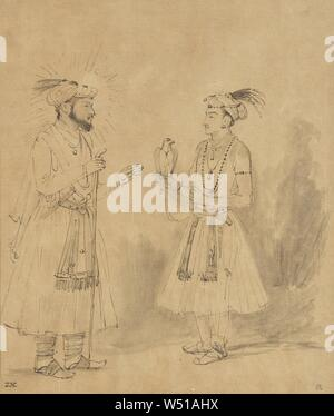 Shah Jahan and Dara Shikoh, Rembrandt Harmensz. van Rijn (Dutch, 1606 - 1669), about 1656–1661, Brown ink and gray wash with scratchwork, 21.3 × 17.8 cm (8 3/8 × 7 in - Stock Photo
